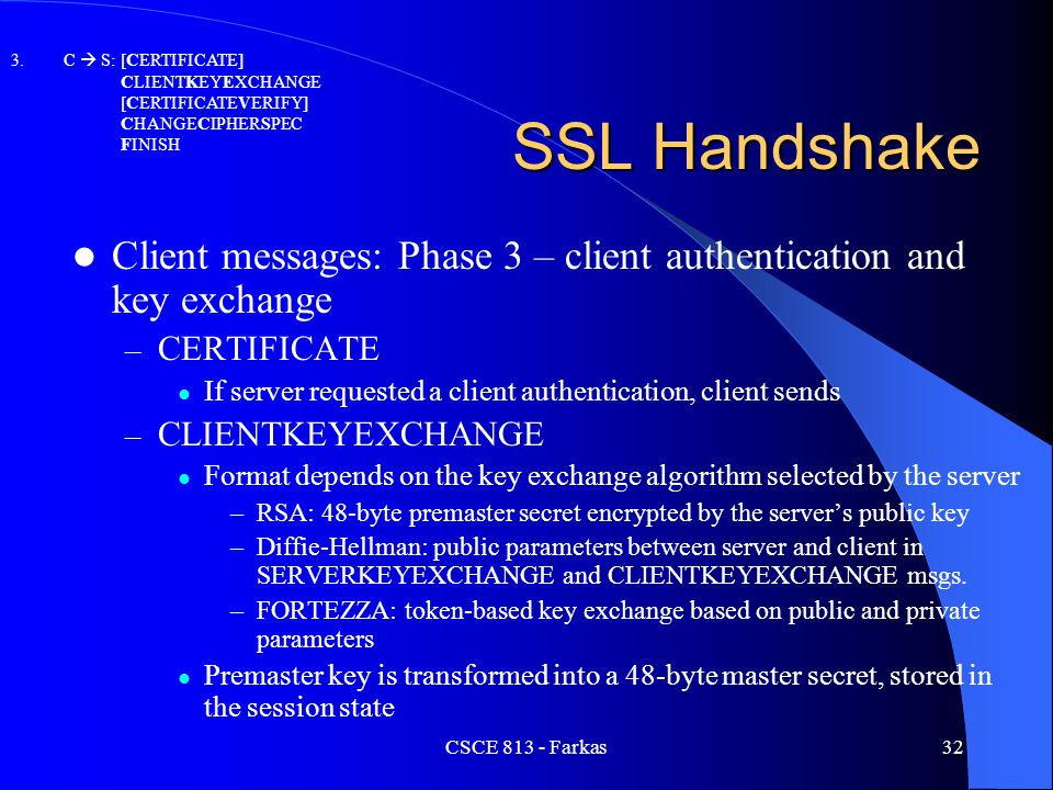 C  S: [CERTIFICATE] CLIENTKEYEXCHANGE. [CERTIFICATEVERIFY] CHANGECIPHERSPEC. FINISH. SSL Handshake.